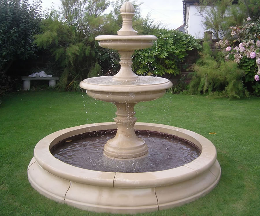 2 Tiered Edwardian Fountain, Medium Cambridge Double Pool Surround ...