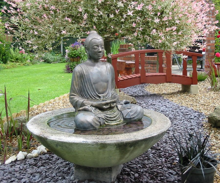 Serene Buddha Patio Fountain With Optional Classic Plinth Stone Garden Ornaments Garden Statues In Uk