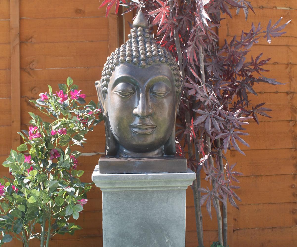 Buddha Head On Classic Plinth Stone Garden Ornaments