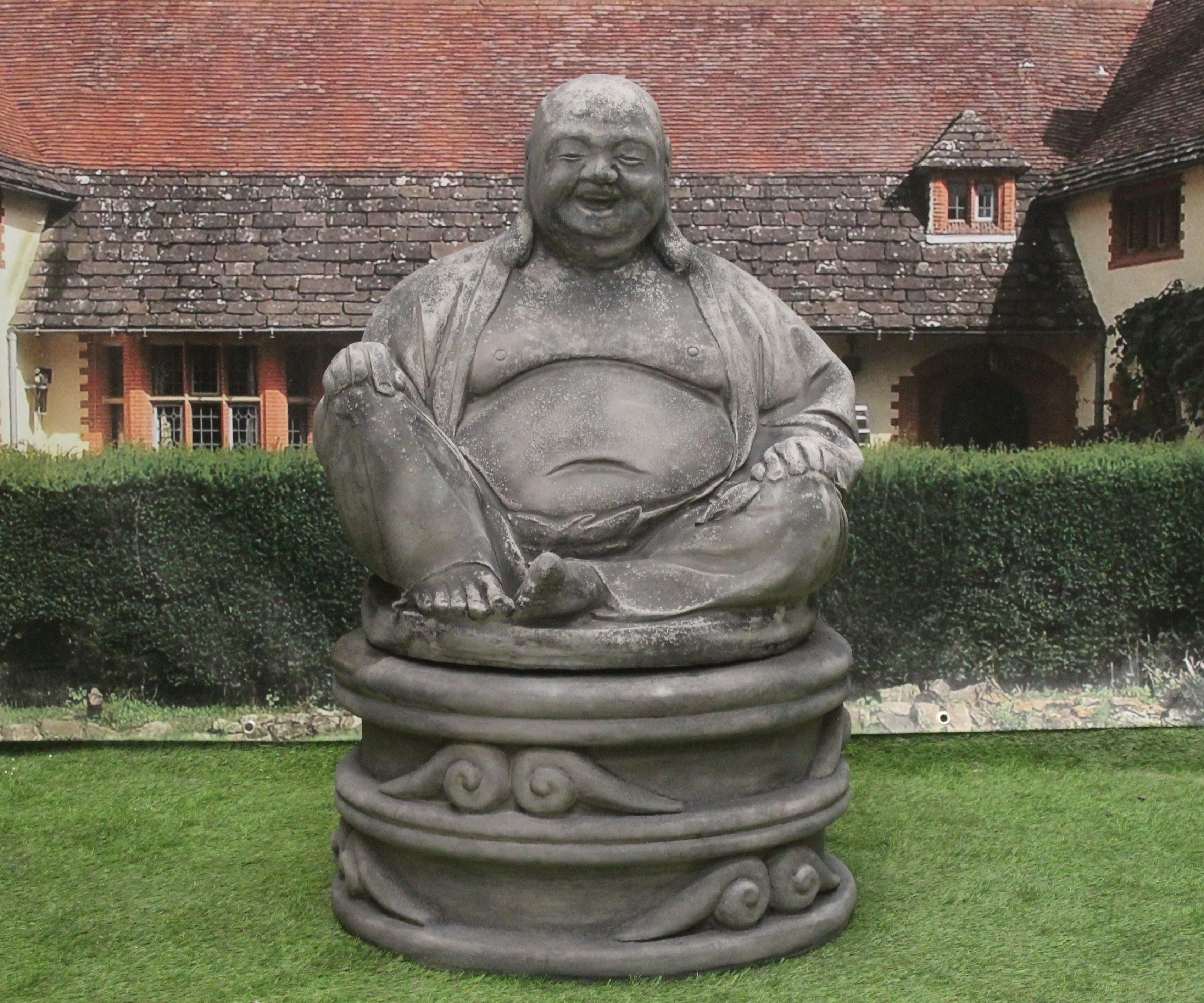 Massive Laughing Buddha Plinth Stone Garden Ornaments Garden Statues In Uk